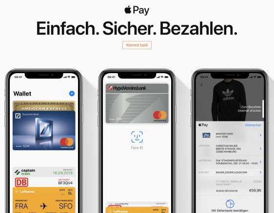 Start von Apple Pay in Deutschland
